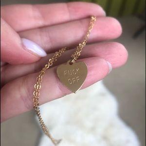 """F$CK OFF"" Mini Heart Tag Necklace 💛"